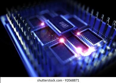 Quantum Processor Computer. 3D Rendered Simulation of Quantum Computer Processor