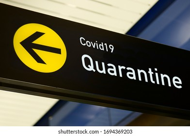 Quarantine sign for emergency about corona virus