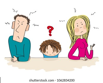 Quarreling parents. Their child, little boy, is sitting between them looking sad and thinking about divorce. Original hand drawn illustration of unhappy family.