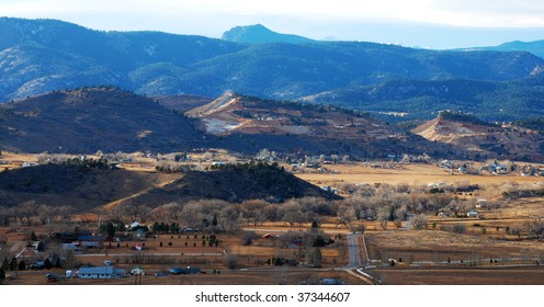Quarries and rural settlements outside of Loveland, Colorado, in the foothills of the Rocky Mountains