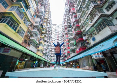 Quarry Bay, Hong Kong - January 12, 2018 :Old apartment in Hong Kong is a place that part of Tranformer scene