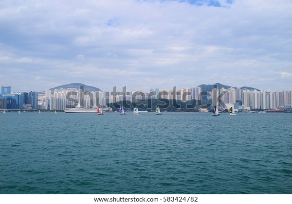 the Quarry Bay Promenade view Kowloon side