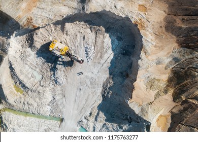 Quarry for the extraction of chalk. Extraction of minerals by the open method. Aerial view.