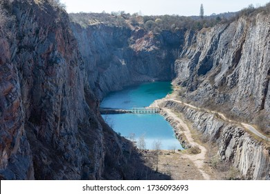 Quarry Great America (Lom Velká Amerika) in the Czech Republic, beautiful clear water, swimming is prohibited here.