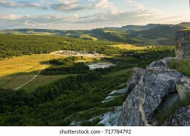 Quarry in the valley near Cave city Bakla in Bakhchysarai Raion, Crimea.
