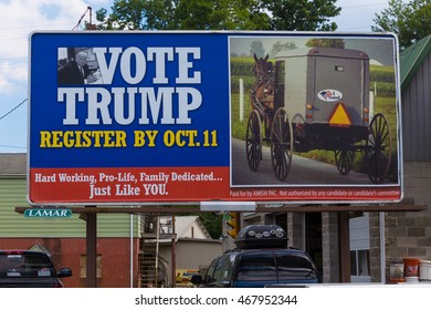 Quarryville, PA - August 12, 2016: A large billboard in Lancaster County seeks to register Amish voters to support Donald Trump for President.