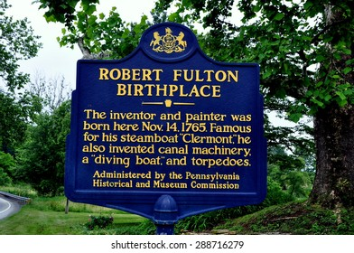 Quarryville, Pennsylvania - June 5, 2015:  Pennsylvania state historic sign at the birthplace of Robert Fulton, the inventor of the steamboat