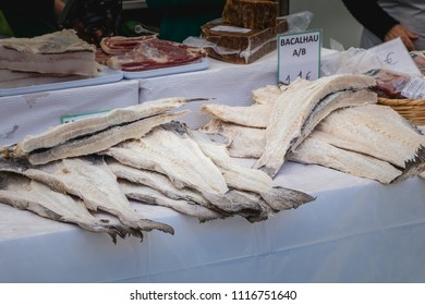 Quarteira, Portugal - May 2, 2018: display of salted and dried cod on the municipal market of the city on a spring day