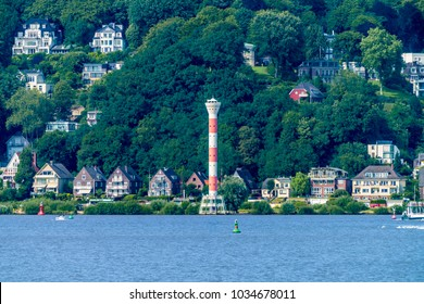 The quarter Blankenese with the lighthouse and the adjacent north bank of the river Elbe in Hamburg, Germany.