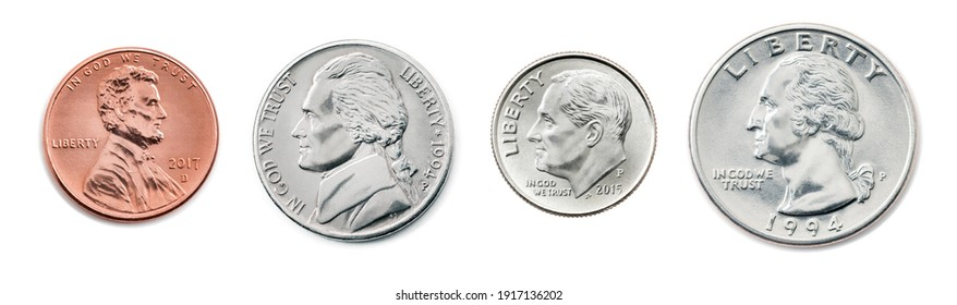 A quarter, dime, nickel, penny. the most common used American Coins. Collection of US coins in the united states one, half, quarter dollar and 1 cent coin isolated on white background with clip path.