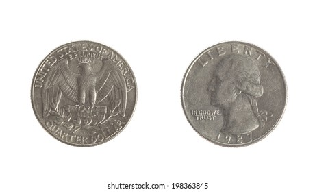 quarter dollar coin isolated on white