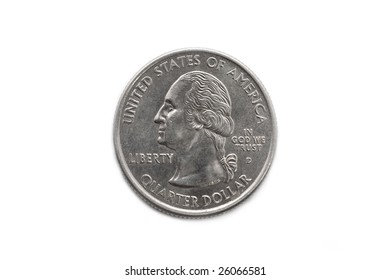 Quarter dollar coin macro shot isolated on white