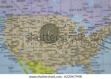 Quarter Dollar Coin On Map United Stock Photo (Edit Now) 622067948 on