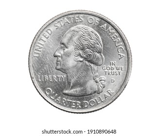 A quarter dollar coin on a white isolated background