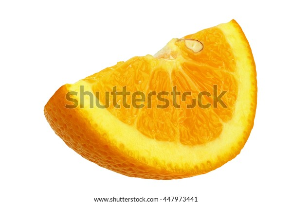Quarter orange isolated on white background with clipping path