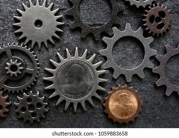 Quarter and penny coin money gears