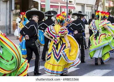 QUARTU S.E., ITALY - JULY 15, 2017: 31 Sciampitta - International Folklore Festival - Sardinia (Folklore Ballet at the University Fuente, Universidad de Coahuila - Mexico)