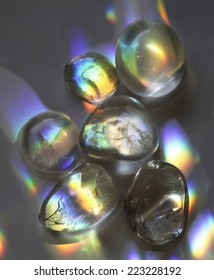 Quartz crystals catching the light displaying beautiful rainbow colors