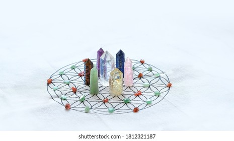 quartz crystals grid Altar Kit. Crystals Layout, gemstones Ritual. Healing minerals for Relaxing Chakra, Wiccan Witchcraft. life balance, esoteric concept