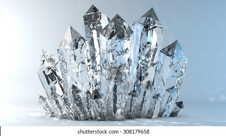 Quartz crystals growing