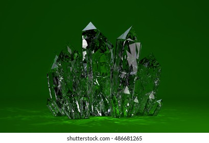 Quartz crystals growing on green backgrownd