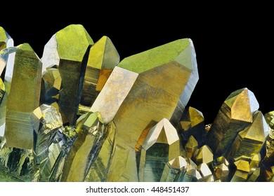 Quartz Gold Titanium Aura crystal cluster on black background