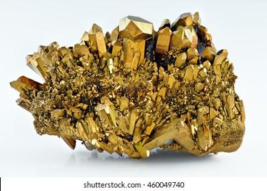 Quartz Gold Titanium Aura crystal cluster on white background
