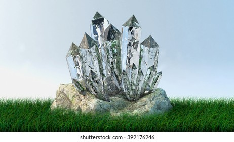Quartz growth of crystals on a stone