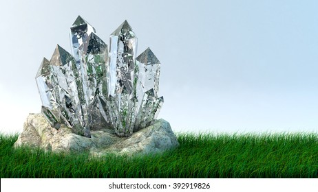 Quartz growth of crystals on a stone, space for text