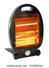 Quartz halogen heater with glowing bars. Isolated with clipping path.