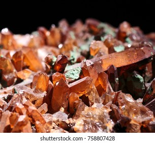 Quartz in one special shape, brownish, close up shot