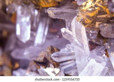 Quartz and pyrit crystals