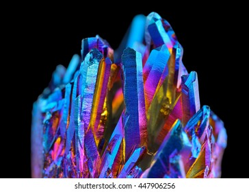 Quartz Rainbow Titanium aura crystal cluster on black background