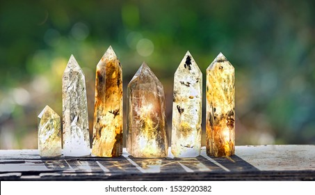 quartz stones mineral crystal on nature background. gems for relaxation, Crystal Ritual, Witchcraft Crystal. copy space