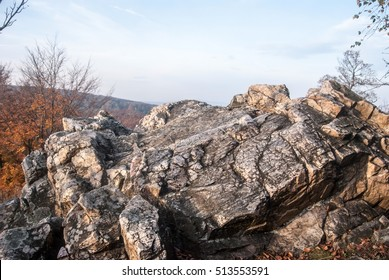 quartzite rock formation named Tisove skaly near Zochova chata above Modra city in autumn Male Karpaty mountains in Western Slovakia