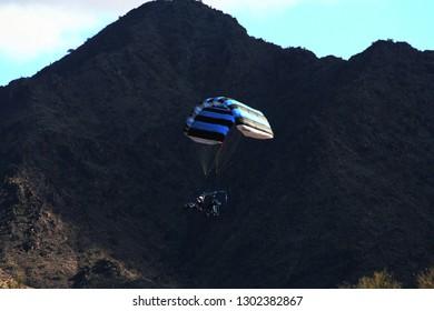 Quartzsite, Arizona / USA - January 13, 2019 Power paragliding in the Sonora desert