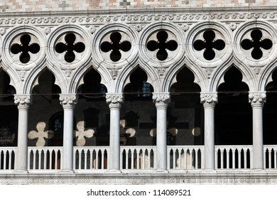 Quatrefoil patterns on elegant gallery windows of the Doge's Palace in Venice, Italy