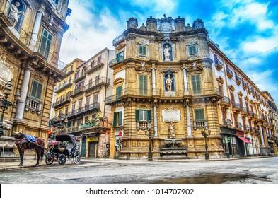 Quattro Canti, Piazza Vigliena, is a Baroque square in Palermo, Sicily, Italy