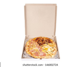 Quattro stagioni pizza in box isolated on white background