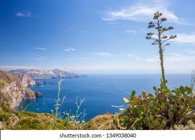 Quattrocchi seascape: view on Vulcano island from Lipari island. Focus on cactus.