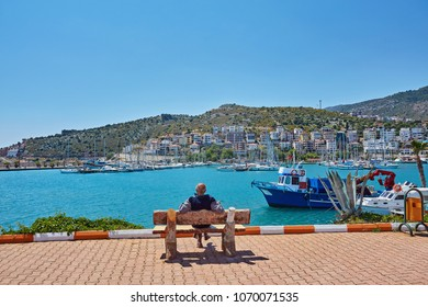 Quay with benches and tables in Finike, province of Antalya. Turkey
