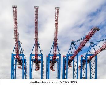 quay crane closeup seen at the Port of Hamburg in Germany