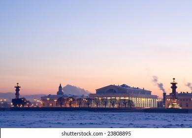 Quay of St. Petersburg. winter
