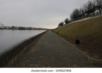 Quay in Tver in cloudy weather
