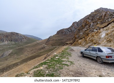 Quba, Azerbaijan - Circa April 2018 : Road to remote ancient caucasian village of Xinaliq / Khinalug