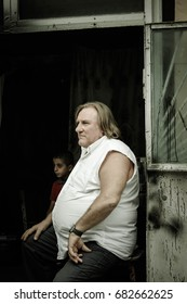 QUBA, AZERBAIJAN - SEPTEMBER 8, 2012: A sudden meeting of famous french actor Gerard Depardieu who strolled for the stalls of  the Quba market in a small village of Quba in the mountains of Azerbaijan