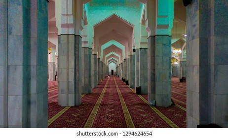 Quba mosque ,Saudi arabia-01 January 2018: Interior of a mosque