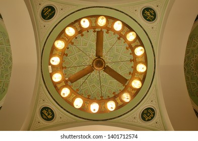 Quba', Saudi Arabia - January 20, 2019 : Amazing and beautiful Interior dome of Quba mosque