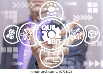 Qubit Qu Bit Quantum Computer Technology. Man uses on a virtual screen of the future and sees the icon: qubit gear.