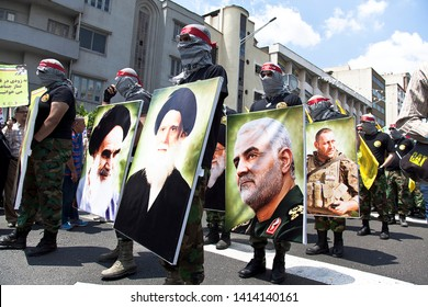 Quds Day rally, Parade of military forces, along with photographs of Qasem Soleimani, Iran Tehran, May 31, 2019.